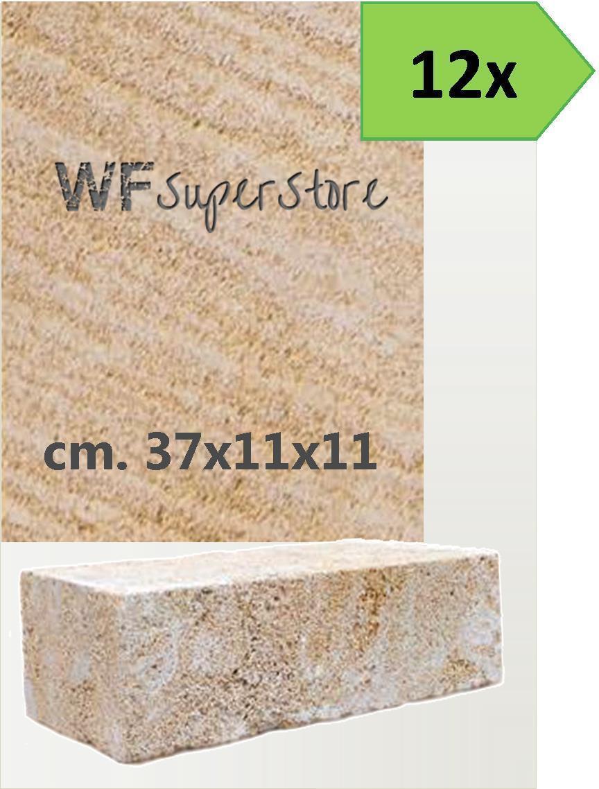 Mattoni pietra Carparo 37x11x11 - 12 pz - muri aiuole blocchetti tufo giardino