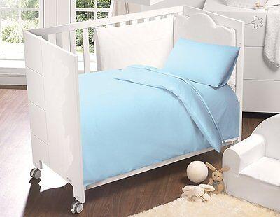 5PCS BABY COT BED LUXURY COTTON BEDINBAG PLAIN DYED SKY BLUE COLOUR 9.0/4.5 TOG