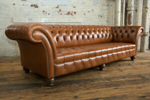 Handmade 4 Seater Vintage Dark Tan Leather Chesterfield Sofa Natural