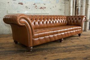 Handmade 4 Seater Vintage Dark Tan Leather Chesterfield Sofa Natural