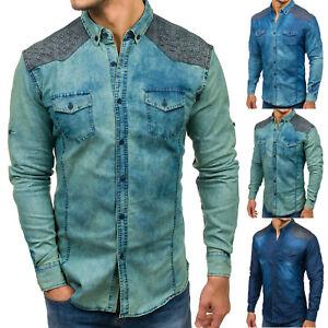 Das Bild wird geladen BOLF-Herren-Jeanshemd-Freizeithemd-Herrenhemd-Denim- Hemd-Casual-