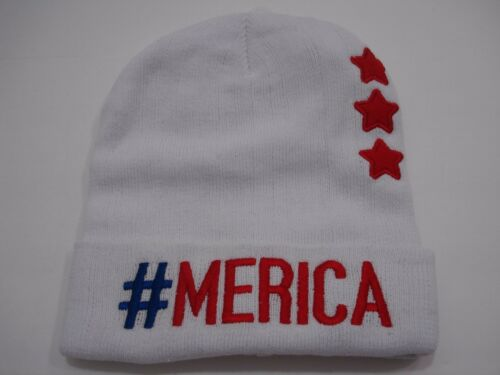 Claire/'s Stars and Stripes #Merica Girl/'s Knit Beanie Hat One Size