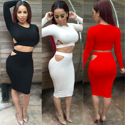 Nevera 2 Piece Outfits Womens Sleeveless Strap Crop Top Bodycon Midi Skirts Dress