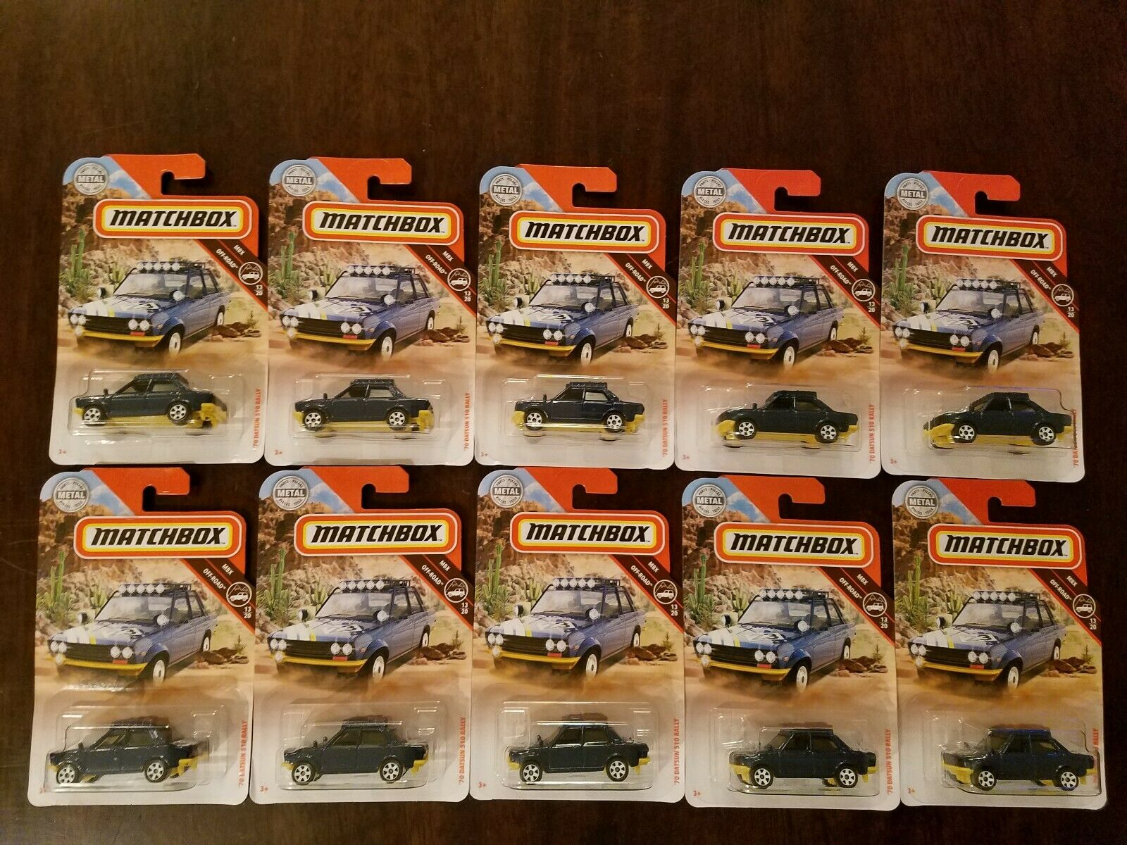 Matchbox Metal 2019 '70 Datsun 510 Rally bluee MBX Off-Road (Lot of 10) NEW
