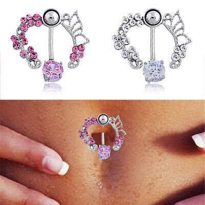 White Fire Opal Navel Rings Belly Button Bar Ring Dangle Body Piercing Jewelr.CA