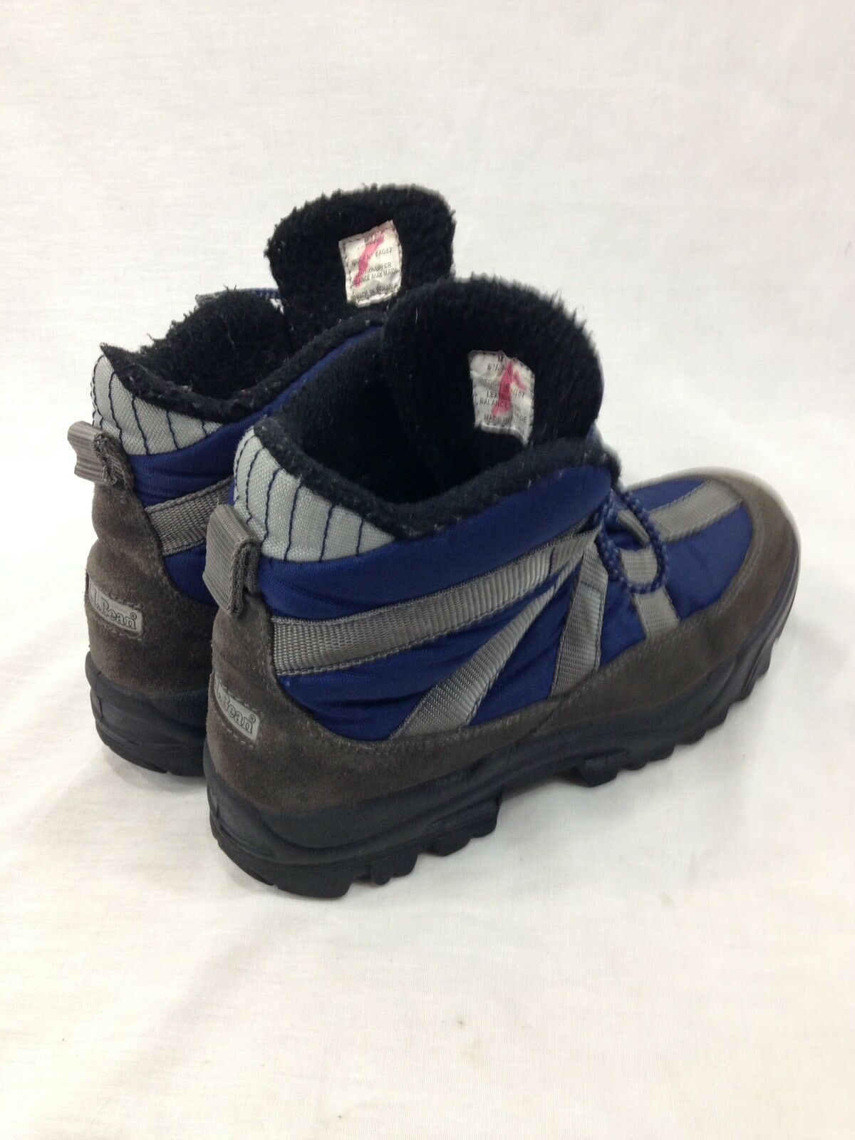VTG LL Blue Bean Hiking Stivali Uomo 8.5 Medium Blue LL Gray Pelle Canvas Lace Up Winter 4ec616