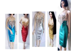 "Custom 1:6 Clothing Silver Metal Coat Silver Dress F12/"" PH UD Female Body Figure"