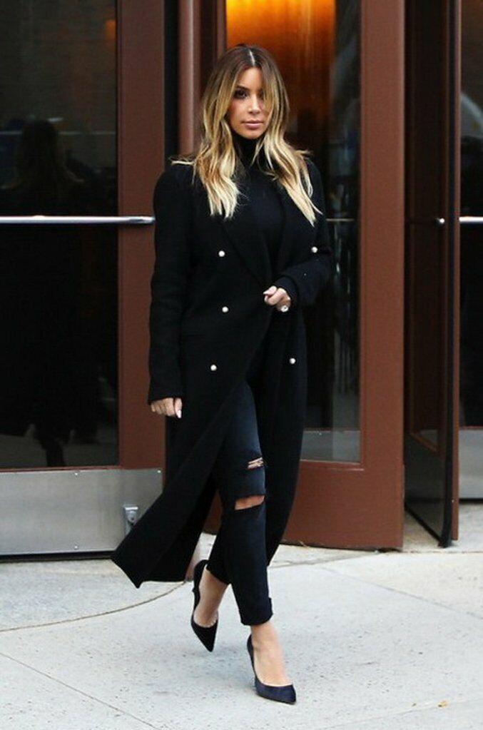 Kim Kardashian Double Breasted Woolen Long Coat