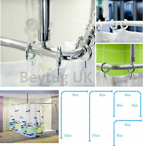 Shower Curtain Rail Rod 4 Way Use L Or U Shape Ceiling