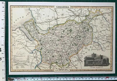 Old Victorian Map of Cheshire England 1840 Pigot Historical Reprint Antique