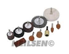 10pc Cleaning Polishing Kit Sanding Wire Brush Wheel Grinding Stone Power Drill