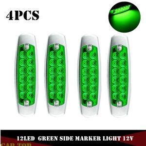 4x-Green-Side-Marker-Light-Clearance-12-LED-Chrome-For-Freightliner-Kenworth-12V