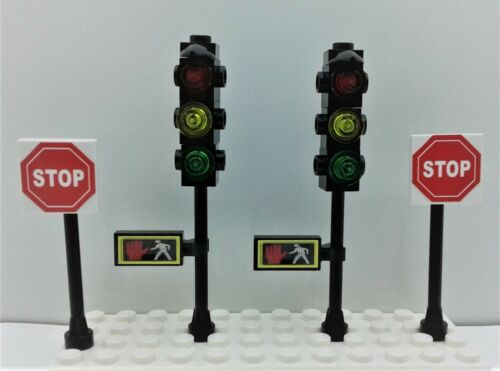 2 STOP SIGNS Lego City Town Custom 2 TRAFFIC LIGHTS w//Pedestrian crossing