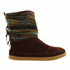 b6bd286bd1f Image is loading NEW-Authentic-TOMS-Brown-Suede-Woven-Women-039-