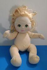 "1985 Mattel ""MY CHILD"" Green Eyes Blonde Baby Girl 13"" Doll Nude"