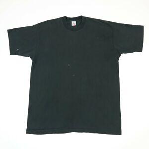 Vtg-Fruit-of-the-Loom-Plain-T-Shirt-2XL-Faded-Black-Paint-Distress-Grunge-Goth