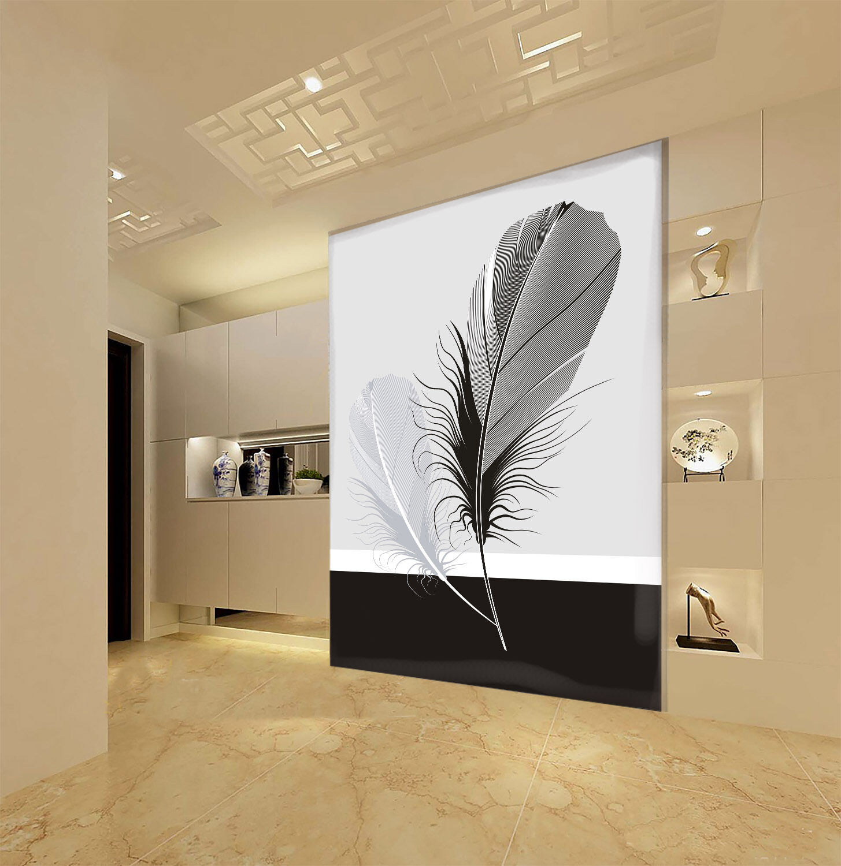 3D Der Schwarz - Weiße federn Fototapeten Wandbild Fototapete BildTapete Familie