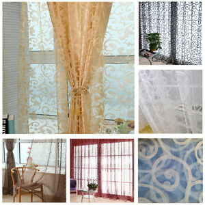 Floral Sheer Voile Door Window Curtain Drape Panel Tulle Valances Divider US