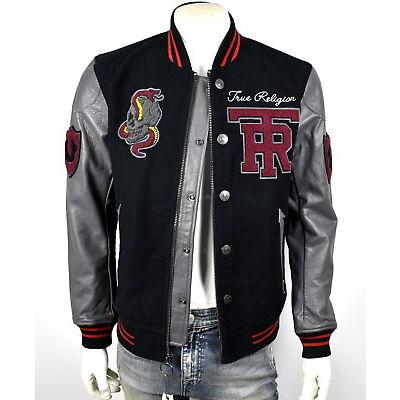 True Religion $499 Collegiate Logo Patch Varsity Leather Jacket - MSQAR4TF4