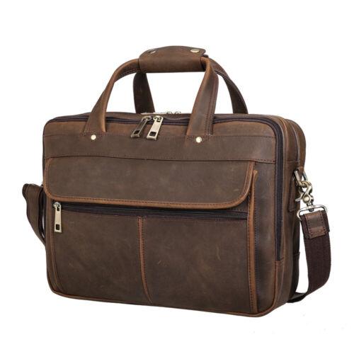"""Men Leather Briefcase 15.6/"""" Laptop Travel Messenger Shoulder Bag Weekend Handbag"""