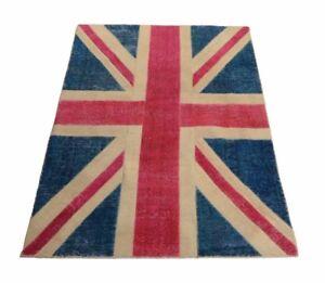 Union-Jack-Vintage-Flag-180-x-122-cm-moderner-Handgeknuepfter-Perser-Teppich