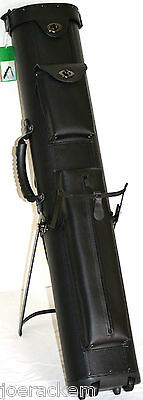 New J&J 4x8 PC48X-WF Black Pool Cue Case with Wheels & Stand - FREE US SHIP