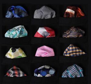PMC-Check-Dot-Floral-Men-Silk-Pocket-Square-Hanky-Wedding-Handkerchief