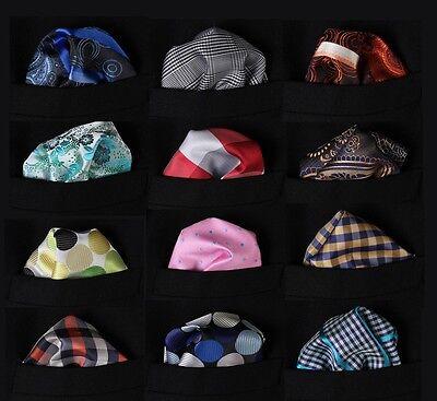 PMC Check Dot Floral Men Silk Pocket Square Hanky Wedding Handkerchief