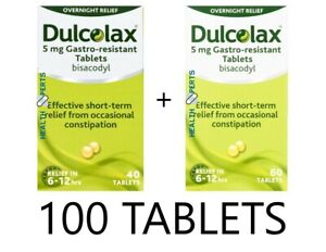 100 Dulcolax Tablets 5mg Bisacodyl Constipation Laxative - 1 x 60 1 x 40 Tablets