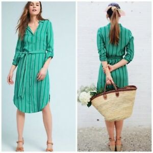 NEW-NWT-Anthropologie-MARTINA-BELTED-SHIRTDRESS-blue-striped-dress-size-16