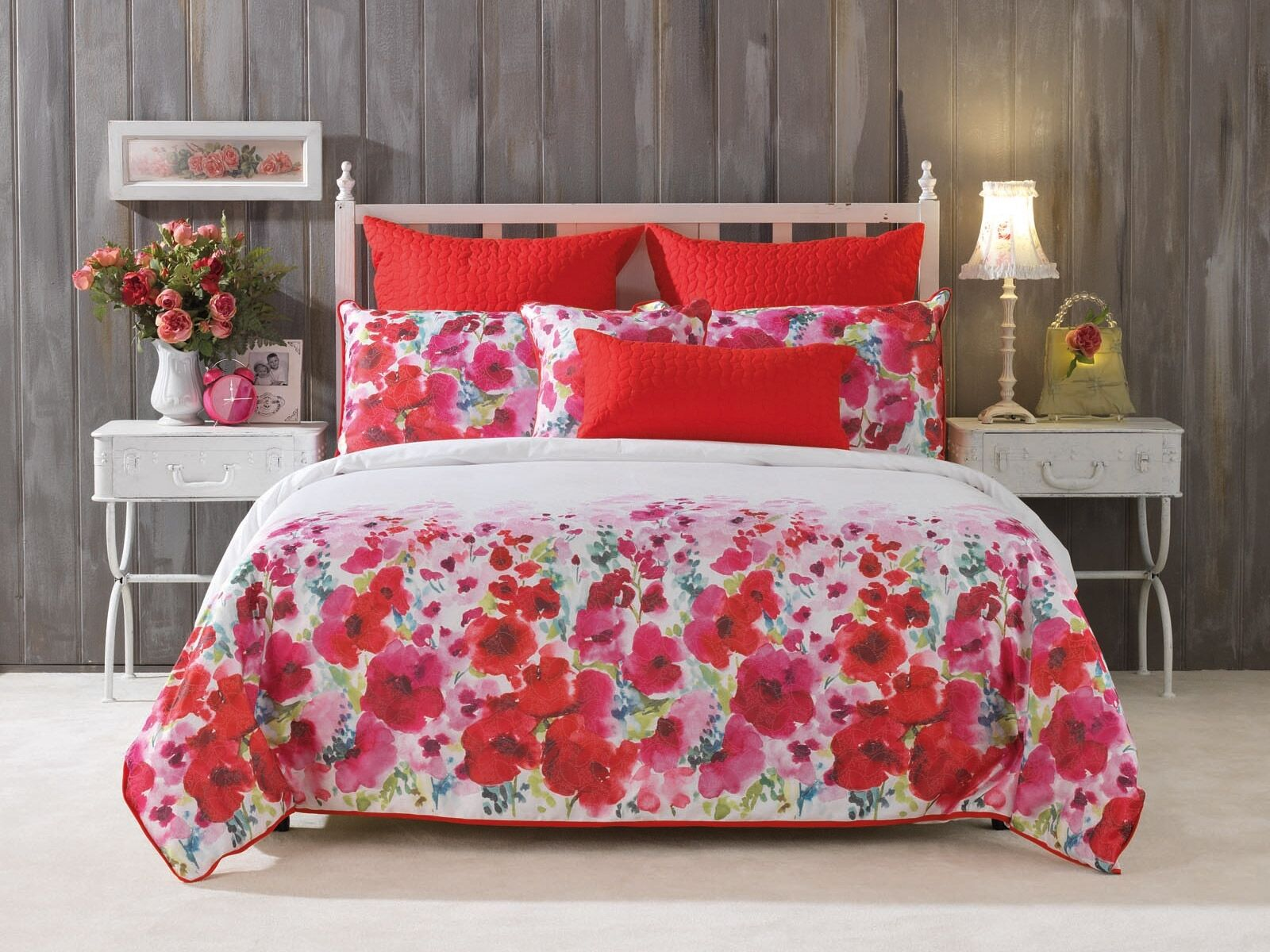 Bianca Makayla rosso Doona Duvet Quilt Cover Set Super King & Double Dimensione