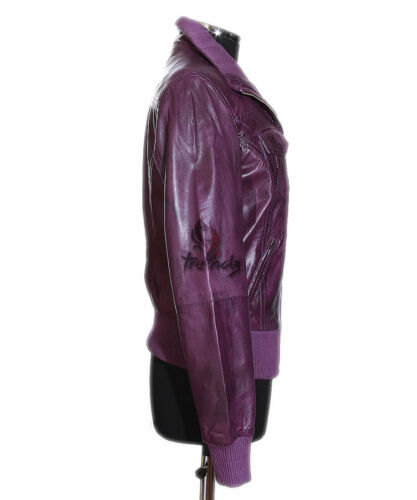 Ladies Jacket Waxed Real Designer Leather Brooklyn Lambskin Style Purple Bomber zUBzwrx