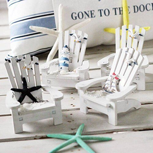 Mini White Wooden Chair Dollhouse Home Sea Beach Decor Ornament Set of 4