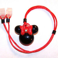 Child's 2 Sided Hearing Aids Safety Leash Loss Retainer Cord Clip Red Bow Mouse