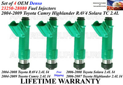 4X Genuine Denso Fuel Injectors For 2004-2009 Toyota Camry 2.4L I4