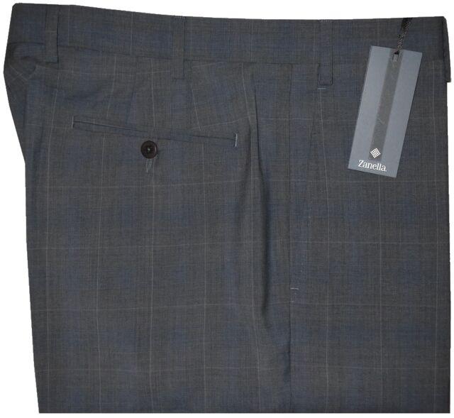 $365 NEW ZANELLA NORDSTROM DEVON CHARCOAL WINDOWPANE DRESS PANTS 35