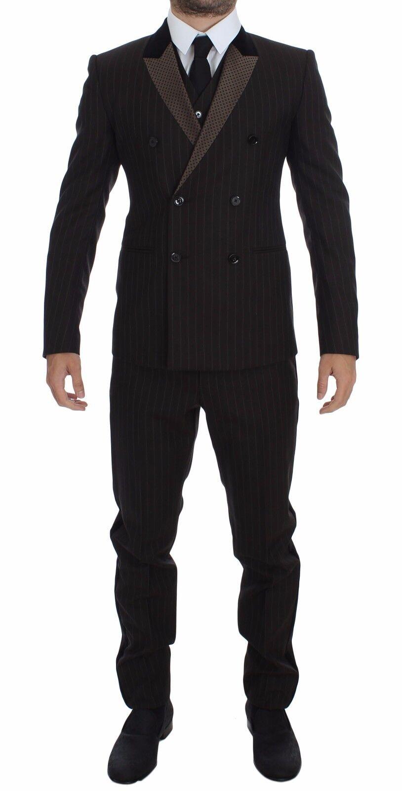 NWT DOLCE & GABBANA Braun Striped Wool Slim 3 Piece Suit Tuxedo EU48/ US38