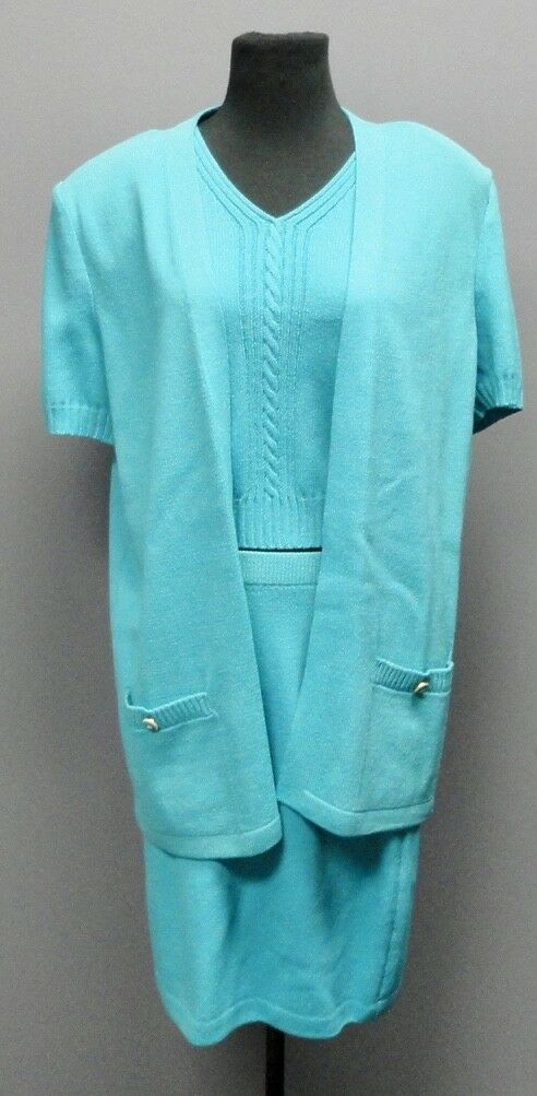 ST. JOHN 3 Piece Sweater Sz S Top Sz P Skirt Sz 6 bluee Green Skirt Set  FF7243