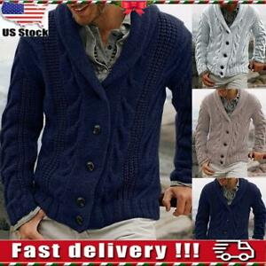 Mens-Knitted-Cardigan-Buttons-Shawl-Collar-Sweater-Knitwear-Work-Sweater-Outfit