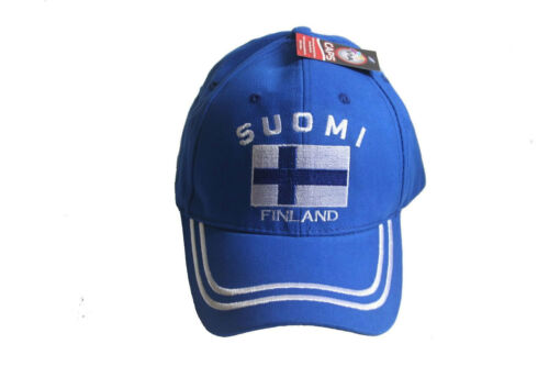 "NEW FINLAND BLUE /""SUOMI/"" COUNTRY FLAG EMBOSSED HAT CAP ."