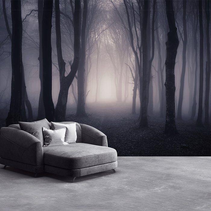 Dunkles Misty Woods Wandbild Wald und Bäume Foto-Tapete Schlafzimmer Haus Dekor