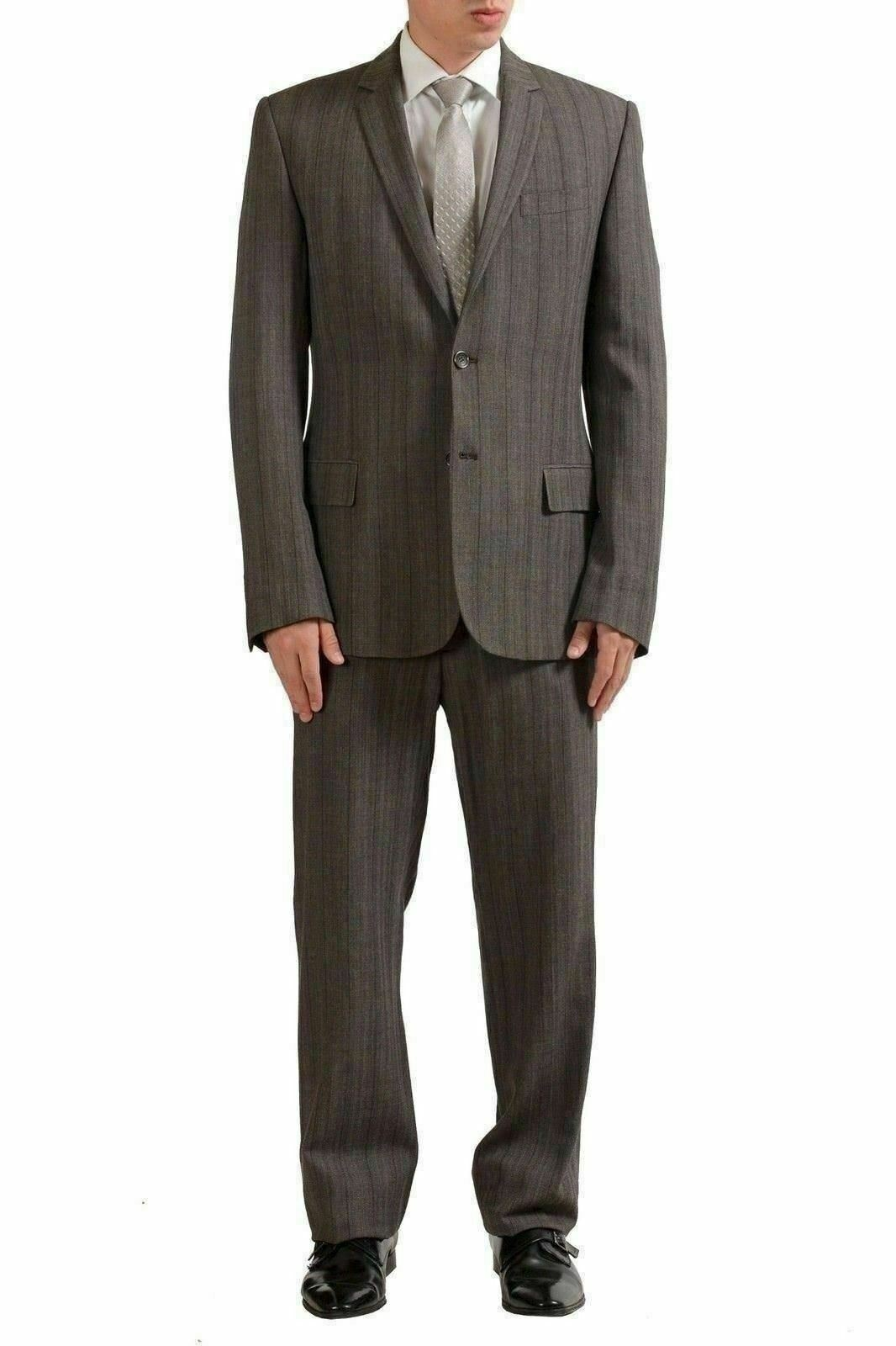 Just Cavalli Men's Wool Brown Striped Two Button Suit US 44 IT 54