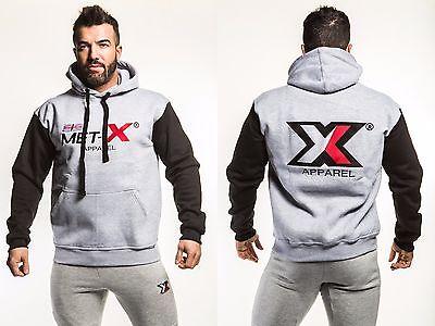 Kreativ Met-x Mens Fleece Hooded Muscle Top Fitness Sweatshirt Hoody Jumper S M L Xl