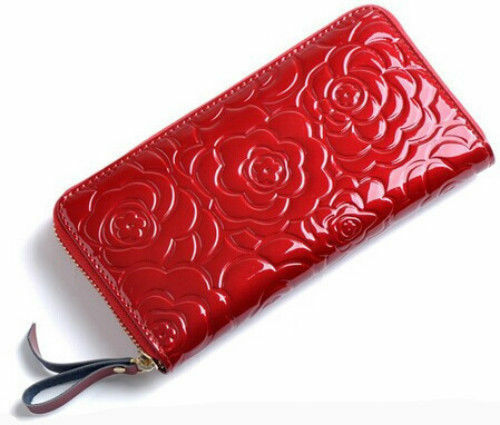 A4034 NEW Chic Roses Embossed Genuine Patent Leather Long Zip Around Wallet SALE