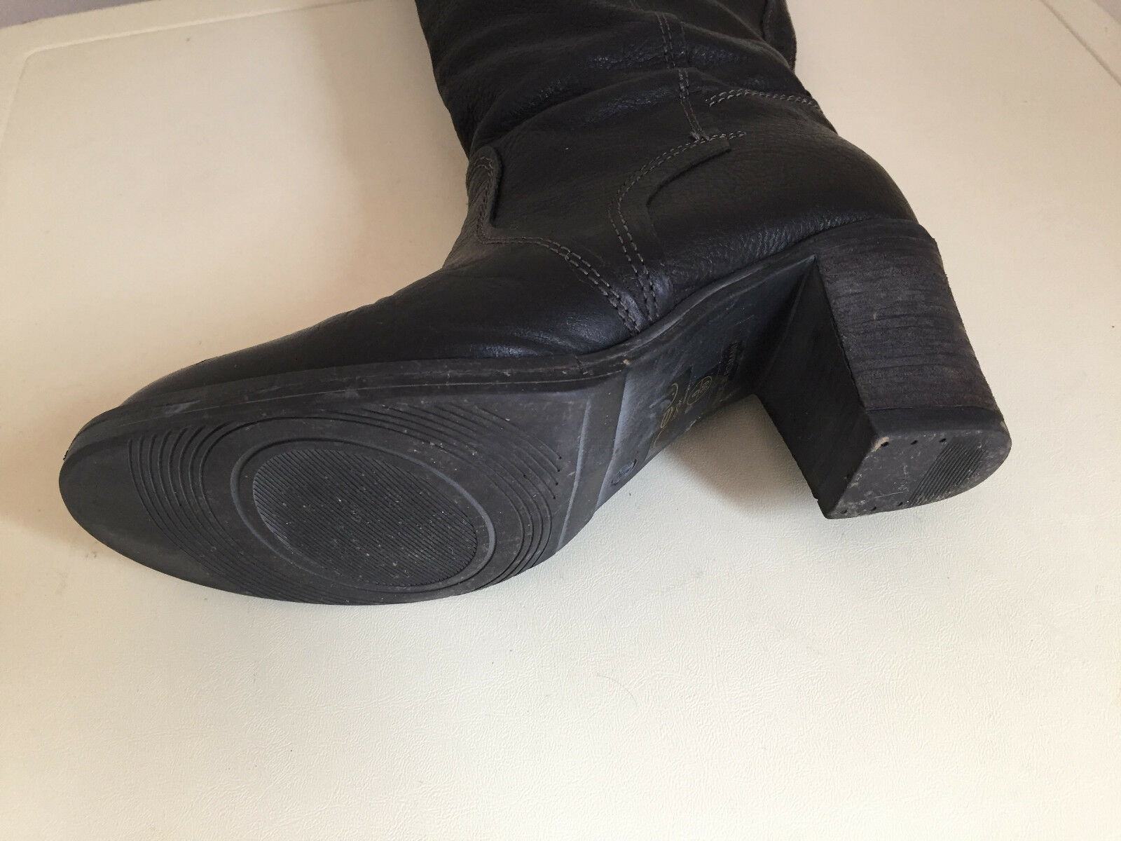 WOMEN LADIES NEW LOOK BLACK KNEE WITH HIGH LEATHER BOOTS WITH KNEE FLEECE LINING SIZE 6 b81741