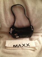 Maxx York Croco Embossed Leather Zip Top Shoulder Bag