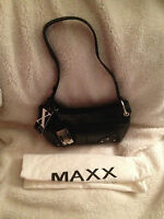 Maxx York Croco Embossed Leather Zip Top Shoulder Bag