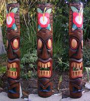 Hawaiian Hibiscus Tiki Wood Wall Mask Patio Tropical Bar Decor 39