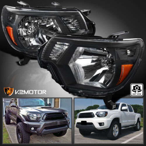 For 2012-2015 Toyota Tacoma Black Headlights Pickup Factory Replacement L+R