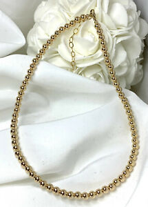 14K-Gold-5mm-Bead-Necklace-Adjustable-Variety-Lengths-Gold-Beaded-Choker